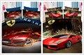 Increíble diseño de color rojo brillante del coche de impresión juegos de cama niños casa decoración de doble twin size edredón fundas de edredón textiles para el hogar 3 unidades