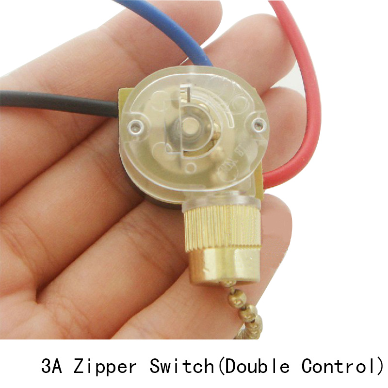 Lamp Zipper Switch Retro Pull Chain Ceiling Light Wall Lamp Switch Ceiling Fan Switch 3 Wire Double Control Switch 1PC/Lot