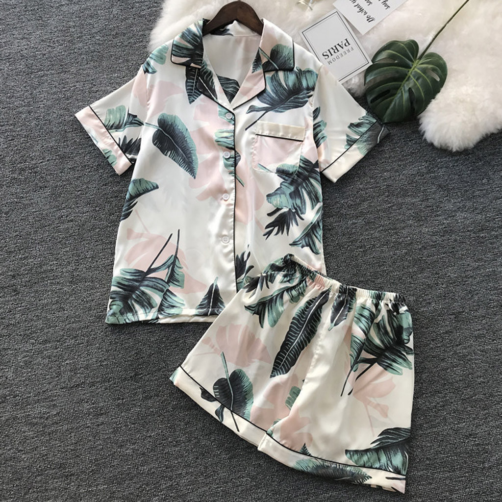 Summer Soft Pajama Shorts Sexy Pajama Set Women Simulation Silk Printing Pattern  Pajamas Sleepwear Nightwear Set Dropshipping#8