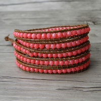 Pink Bead Wraps Bracelet Faceted Coral Beads Bracelet Gypsy Leather Wrap Bracelet Boho Stack 5 Wraps
