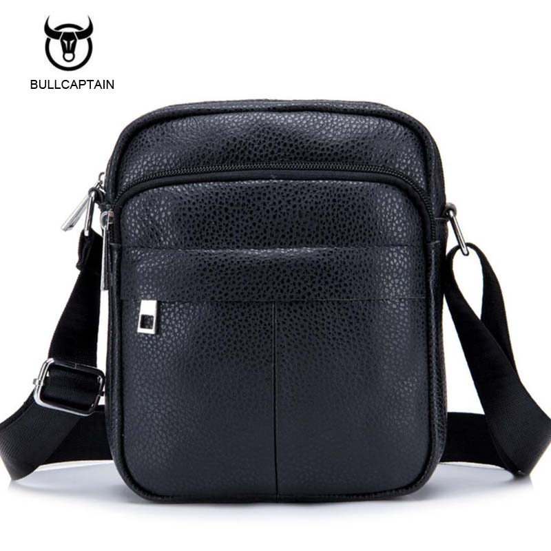 Bullcaptain Men's Leather bag Genuine Leather men Bag male Shoulder Crossbody Bags Casual Handbags Small Flap Men Messenger Bags tianhoo genuine leather men bags flap messenger bag men s small briefcase man casual crossbody bags shoulder handbags