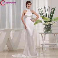 White Evening Dress Long Halter Neckline Gown Real Photos 2018 New Mermaid Floor Length Special Occasion Dresses