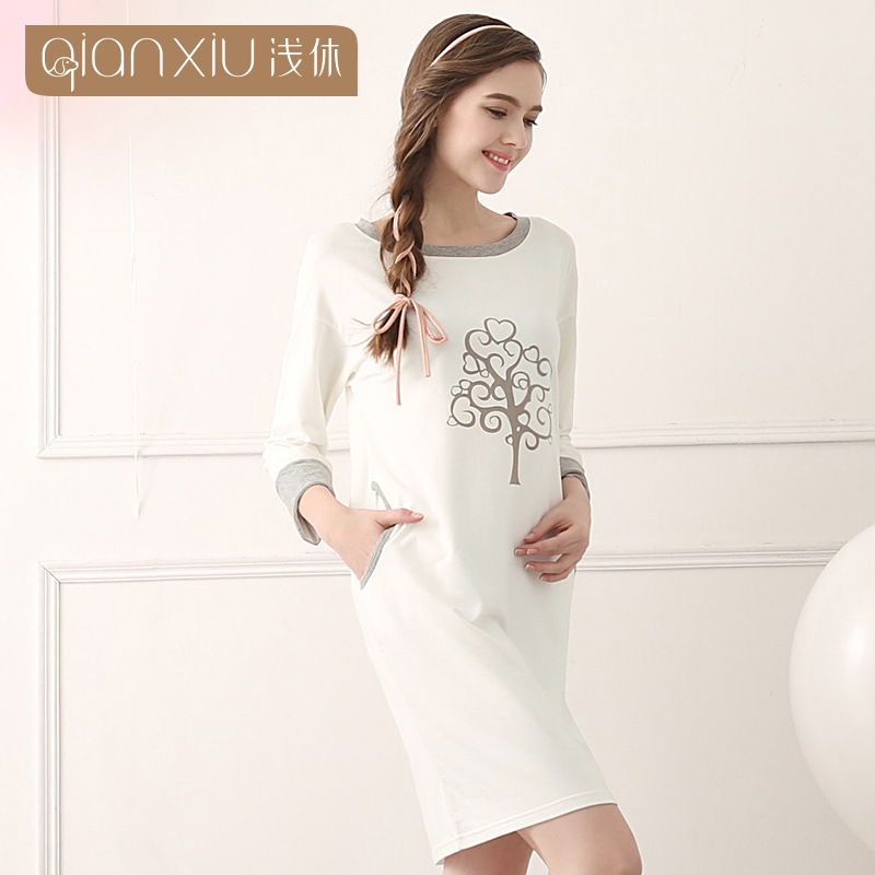 Ms modal Cotton long nightgown long-sleeved household Spring Women ...