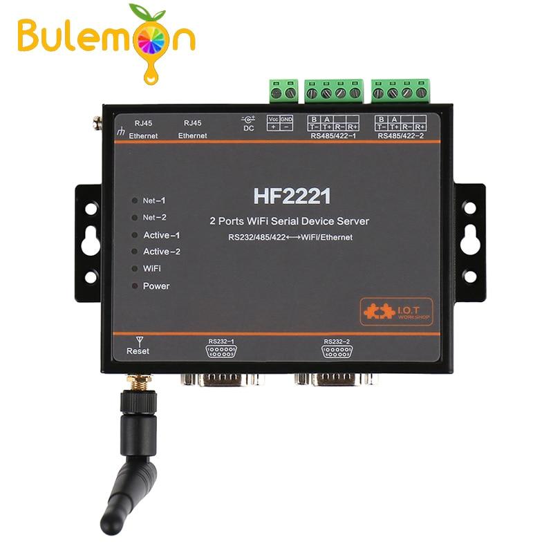 HF2221 2 Ports Wifi serveur de périphérique série RS232/RS422/RS485 vers Ethernet/Wi-Fi serveur série