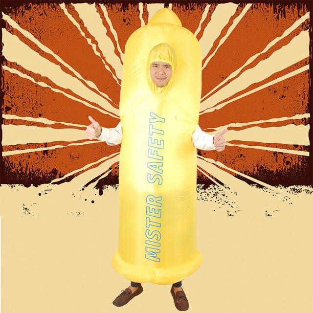 Costumes gonflables de pénis pour adultes Disfraz Sexy érotique monsieur préservatifs de sécurité Cosplay costumes de mariage enterrement de vie de garçon robe fantaisie