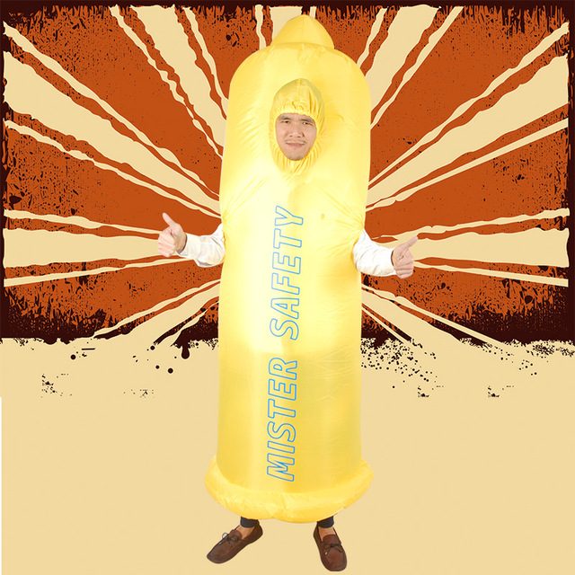Gonflable Pénis costumes pour Adultes Disfraz Sexy Érotique Monsieur Sécurité Préservatifs Cosplay Costumes De Mariage Bachelor Party Fantaisie Robe