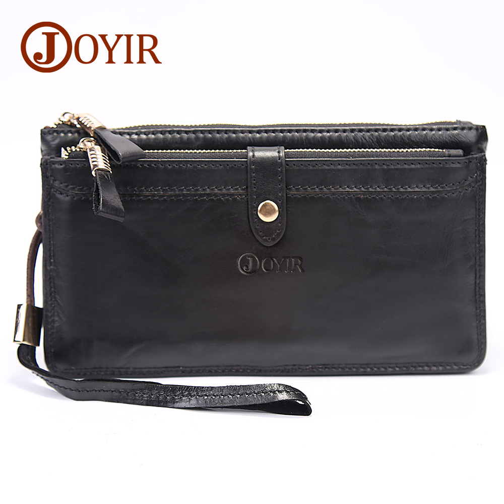 JOYIR Genuine Leather Men Wallets Double Zipper Design Business Male Wallet Fashion Purse Card Holder Long Clutch Wallets 9002 joyir men double zipper wallets genuine leather men wallets business clutch wallet bag male wallet coin purse card holder