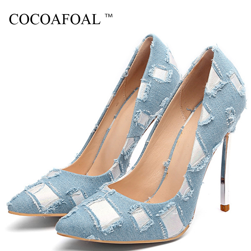 COCOAFOAL Sexy Denim Womens High Heels Shoes Woman Heel Shoes Plus Size Pointed Toe Wedding Party Pumps Stiletto Stripe BlueCOCOAFOAL Sexy Denim Womens High Heels Shoes Woman Heel Shoes Plus Size Pointed Toe Wedding Party Pumps Stiletto Stripe Blue