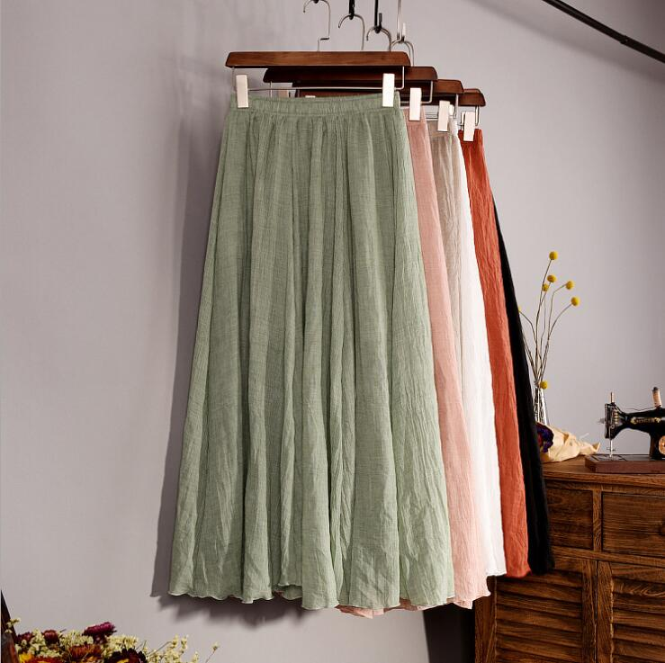 Cotton Linen Maxi Skirt Women Spring Summer Elastic Waist Vintage Solid Pleated Long Skirts Mori Girl Boho Beach Skirt QH1755