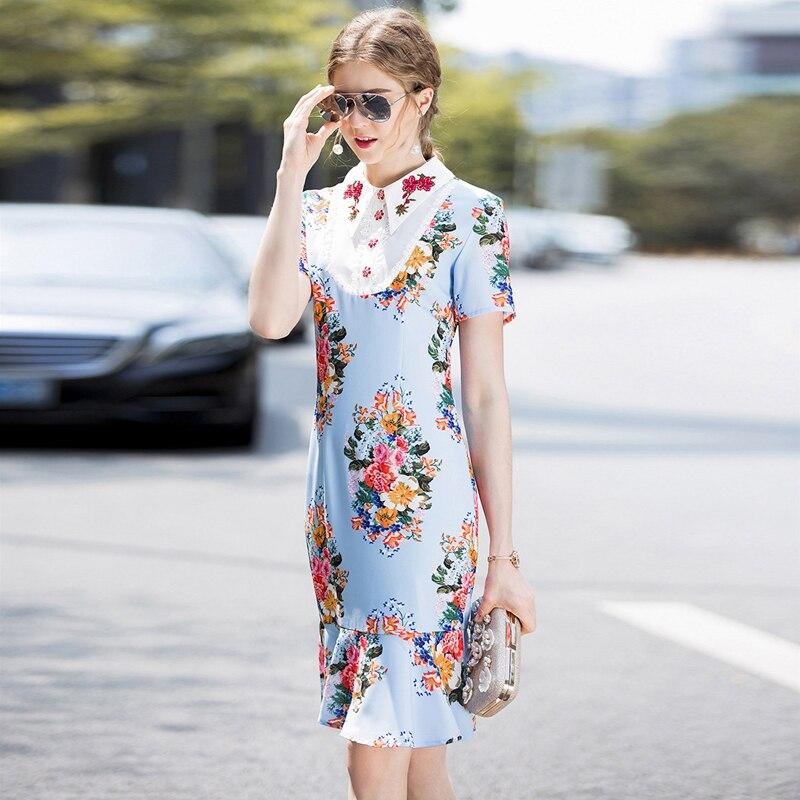 Marque Commerce Manches Robe Robe Courtes Pour 2018 Style À Imprimé Féminine Femmes Station De Extérieur Européenne Vêtements Haut D'été Nouveau Gamme vCw8qU8Z