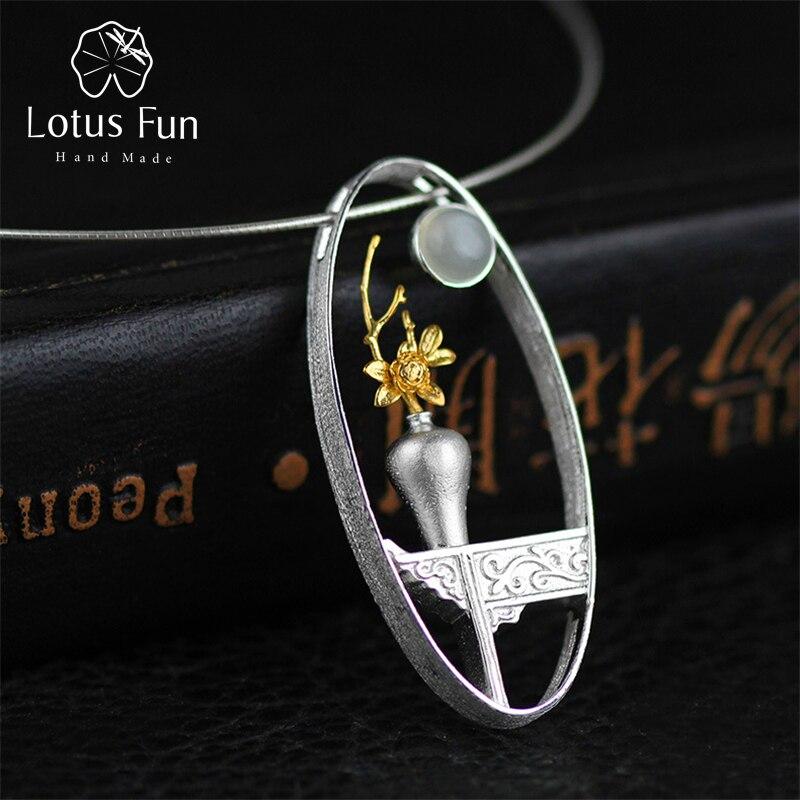Lotus Plaisir Réel 925 Sterling Argent Naturel Moonstone Main Fine Jewelry Fleur Vase Conception Pendentif sans Collier pour les Femmes