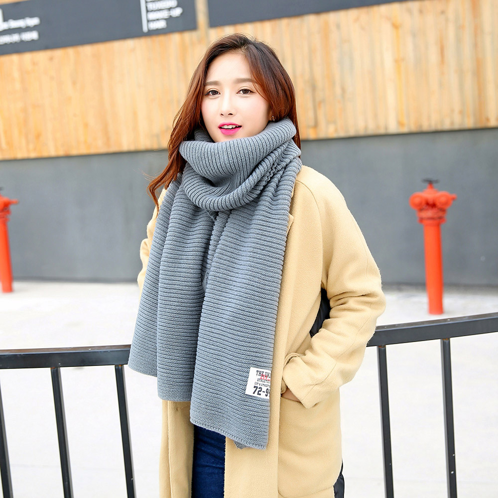 5 Colors Solid Knitted   Scarf     Wraps   Harajuku Shawl Causal Cotton Pashmina Warm Luxury Shawls Autumn Winter   Scarves   Men Women