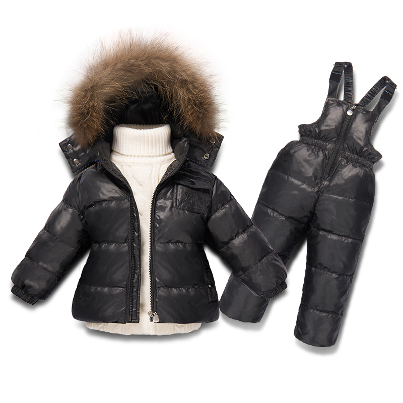 New Big Raccoon Fur Collar Baby Snowsuit for New Toddler Boy Girl and Boy Winter Thicken Outwear Down Jacket Pants Set annabel karmel s new complete baby and toddler meal planner 200 quick easy and healthy recipes for weaning and beyond