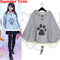 Harajuku Neko Atsume Cosplay Cloak Winter Cute Cat Hoodies Coat Daily Fleece Cloak Xmas Gift Lolita Tops Superstar Town
