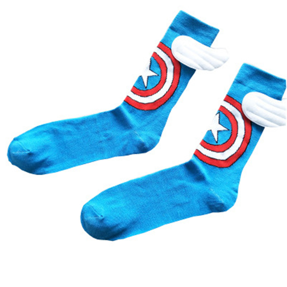 Women Men Captain American hero Costume Stockings Knee-High Socks Cosplay Cotton Calf Socks Sports Sock Christmas Gifts