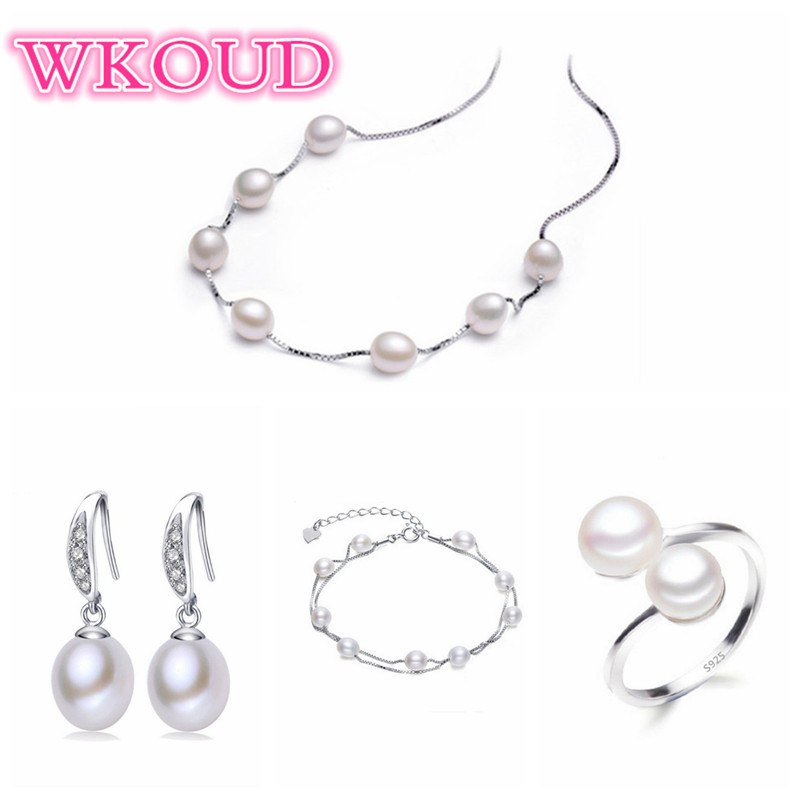 Real freshwater pearl jewelry set women natural pearl sets 925 sterling silver Wedding jewelry for women  4-X3-E6Real freshwater pearl jewelry set women natural pearl sets 925 sterling silver Wedding jewelry for women  4-X3-E6