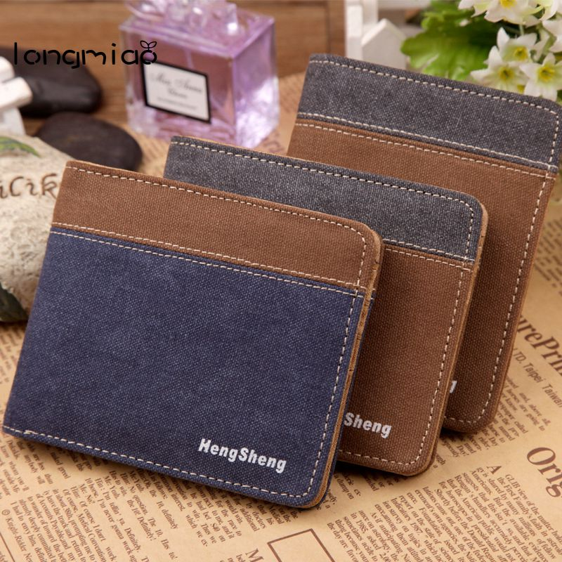 longmiao Cloth Wallet Pattern New Mens Canvas Wallets Denim Purse Vintage Casual High Quality Man Wallet Short Design Purse
