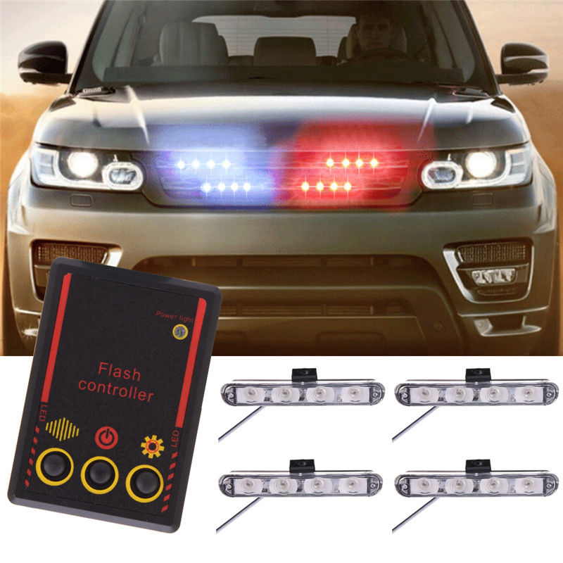 CYAN SOIL BAY 16 LED Car Emergency Strobe Light Bar Police Warning Flash Visor Dash Lighting Red Blue