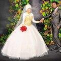 Мода хиджаб свадебные платья 2017 с длинным рукавом о шеи аппликации кружева тюль женщины Свадебное Платье для свадьбы