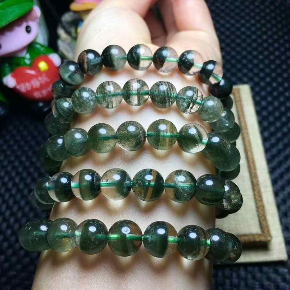 สร้อยข้อมือคริสตัลธรรมชาติผีสีเขียวผีควอตซ์พลอย10-9มิลลิเมตรAAAจัดส่งฟรี