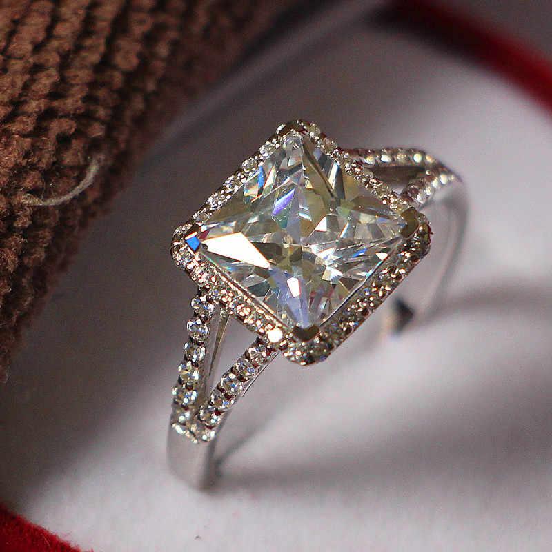 Công chúa Tình Yêu 2Ct Chúa Cut IJ Kim Cương Tổng Hợp Nữ Vòng 925 Sterling Bạc Trắng Vàng Màu Wedding Jewerly