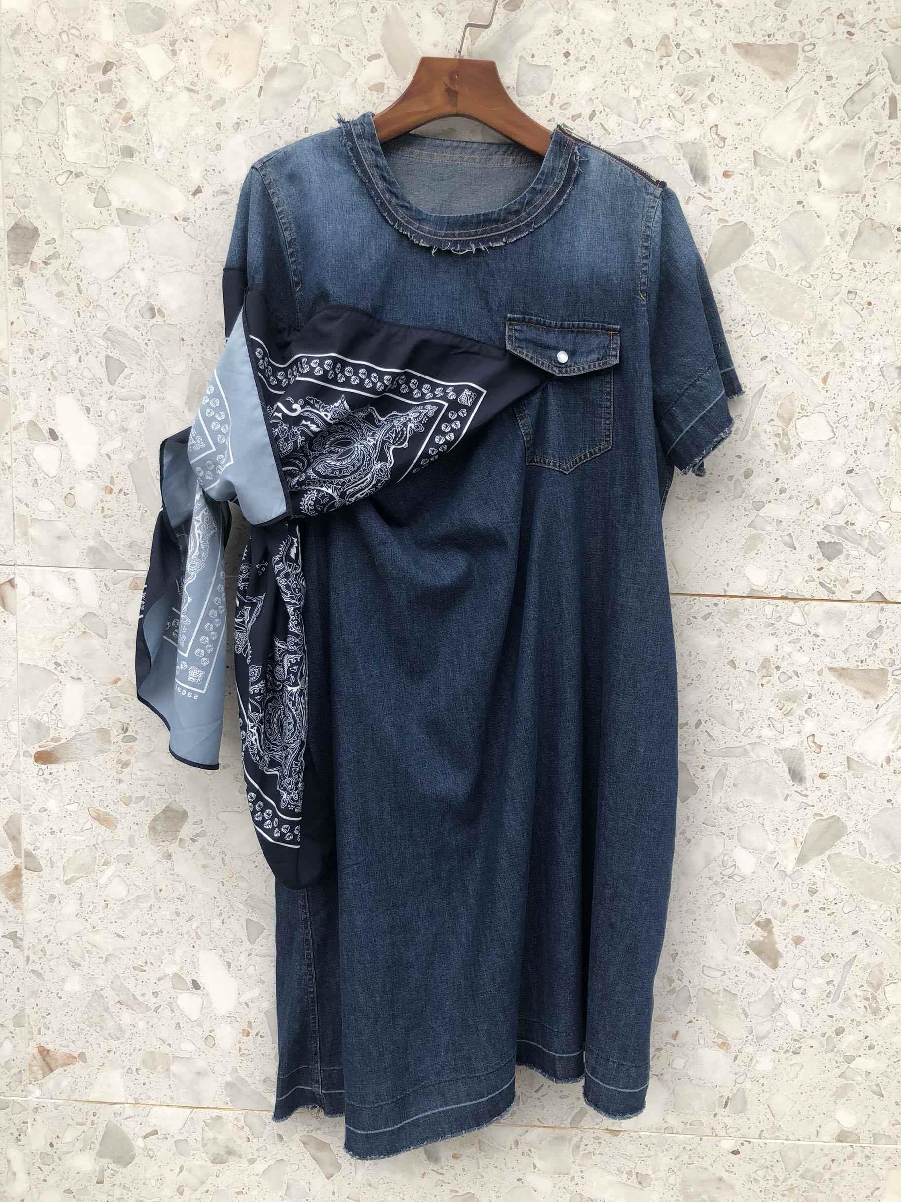 SuperAen/летнее и весеннее Новое джинсовое платье для женщин с коротким рукавом, повседневное женское платье с принтом, модная женская одежда в европейском стиле