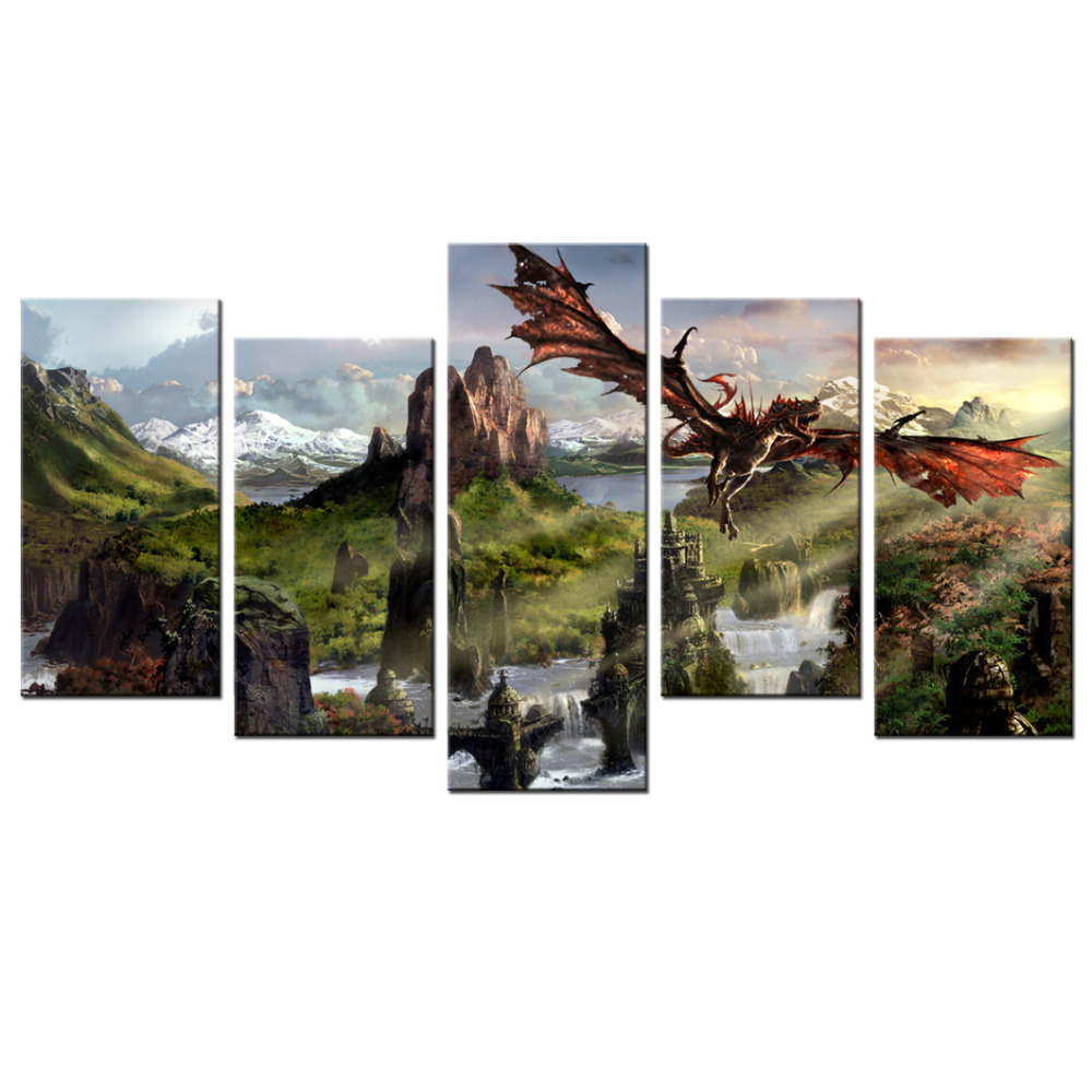 5 Piece Mural Wall Art Dream Island Fantasy Magic Poster Modern Printed Dragon Pictures For Living Room Home Decor Wall Posters