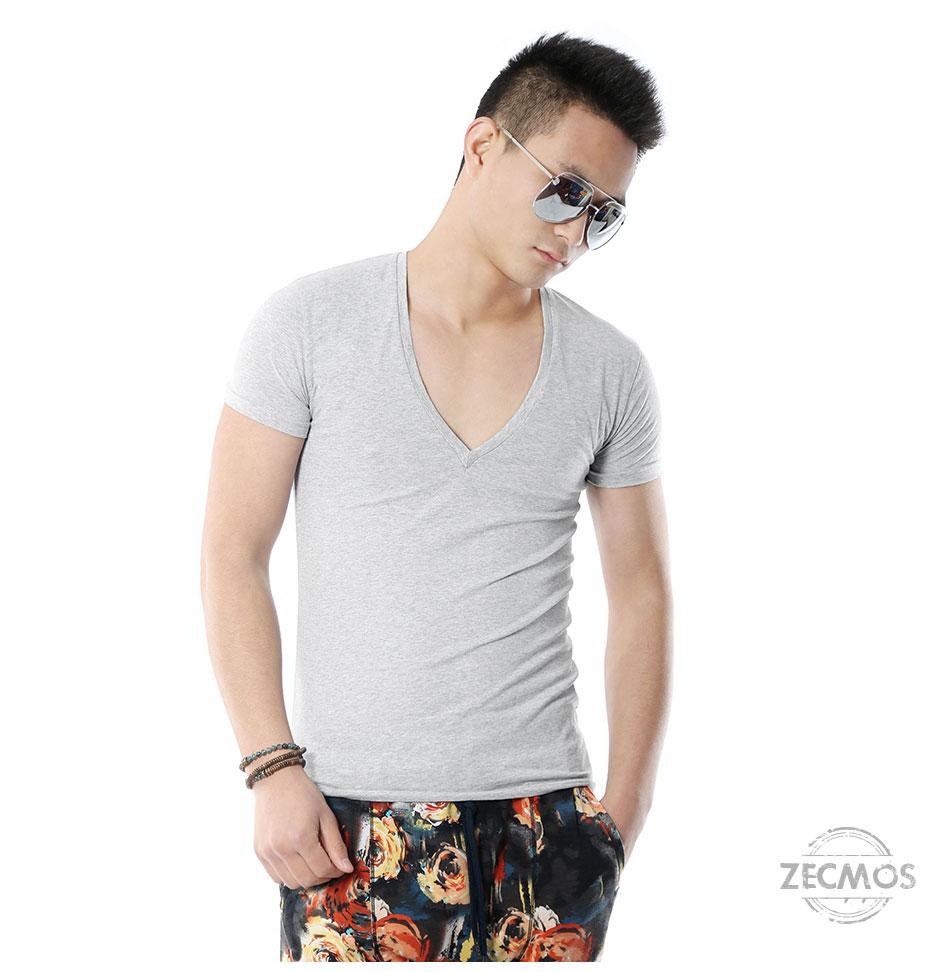 Zecmos Deep V Neck Sexy Men T-Shirt Vintage Short Sleeve Solid Color Muscle Fit T Shirt Men Top Tees Fashion 34