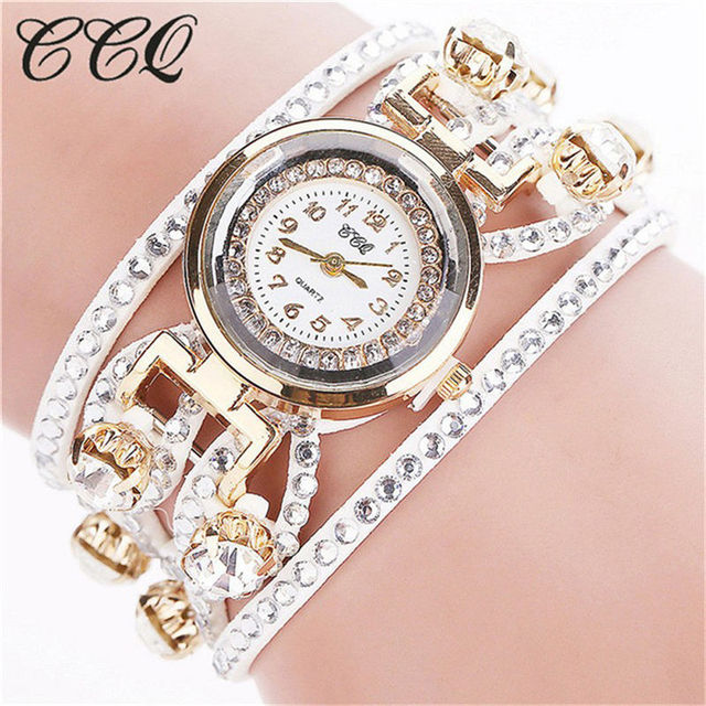 CCQ Fashion Relojes Mujer Women Bracelet Watches Watched Luxury Women Full Cryst
