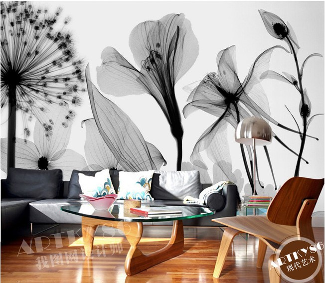 Custom 3d mural 3D Beautiful black white art transparent Lily Rose dandelion wallpaper bedroom living room wallpaper mural book knowledge power channel creative 3d large mural wallpaper 3d bedroom living room tv backdrop painting wallpaper