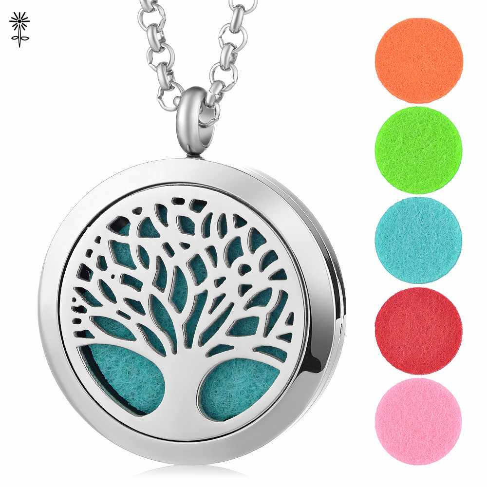 316L Stainless Steel 30mm Stainless Steel Aromatherapy Essential Oils Diffuser Necklace Locket Pendant Free with 5pcs Oil Pads