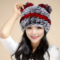 YCFUR Women Fur Beanies Hats Winter 2016 Stripes Natural Rex Rabbit Fur Caps Silver Fox Fur Trims Real Fur Berets Female TM6