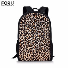 FORUDESIGNS Customize 16 inch Backpack for Teenager Girls Boy Leopard Print Spots School Bag Childrens BookBag Daypack Mochila