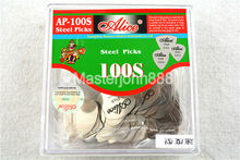 100pcs Alice AP-100S 0.3mm Speed Heart Shape Chrome Metal Stainless Steel Picks Electric Guitar Bass Picks Plectrums стоимость