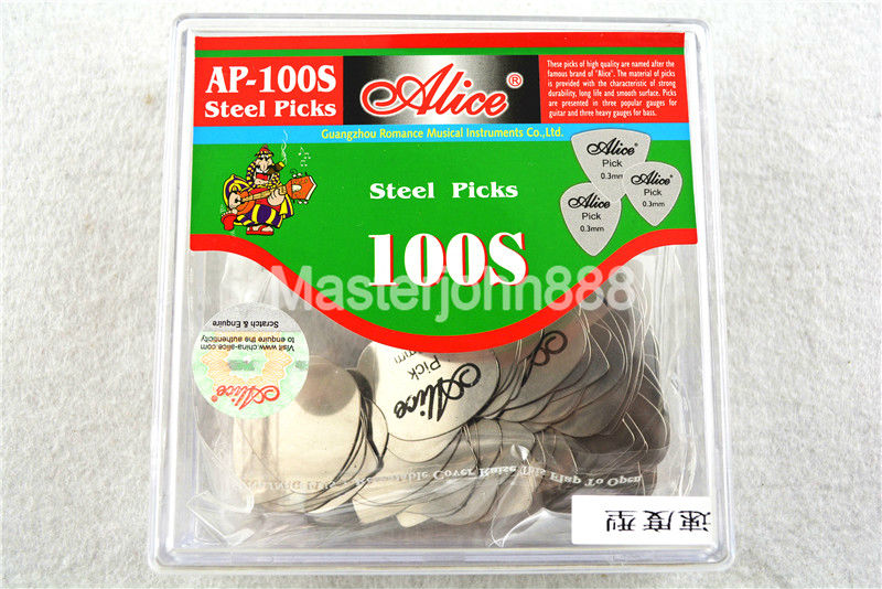 100pcs Alice AP-100S 0.3mm Speed Heart Shape Chrome Metal Stainless Steel Picks Electric Guitar Bass Picks Plectrums