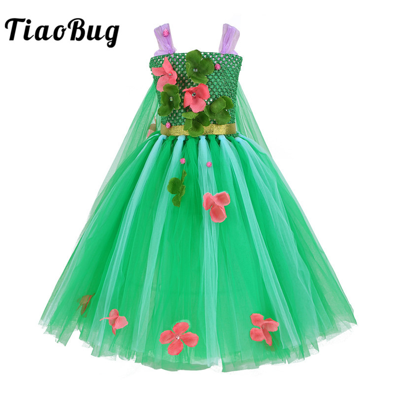 TiaoBug Kids Girls Flowers Green Mesh Tutu Dress Festival Carnival Halloween Christmas Costume Princess Cosplay Party Dress Up