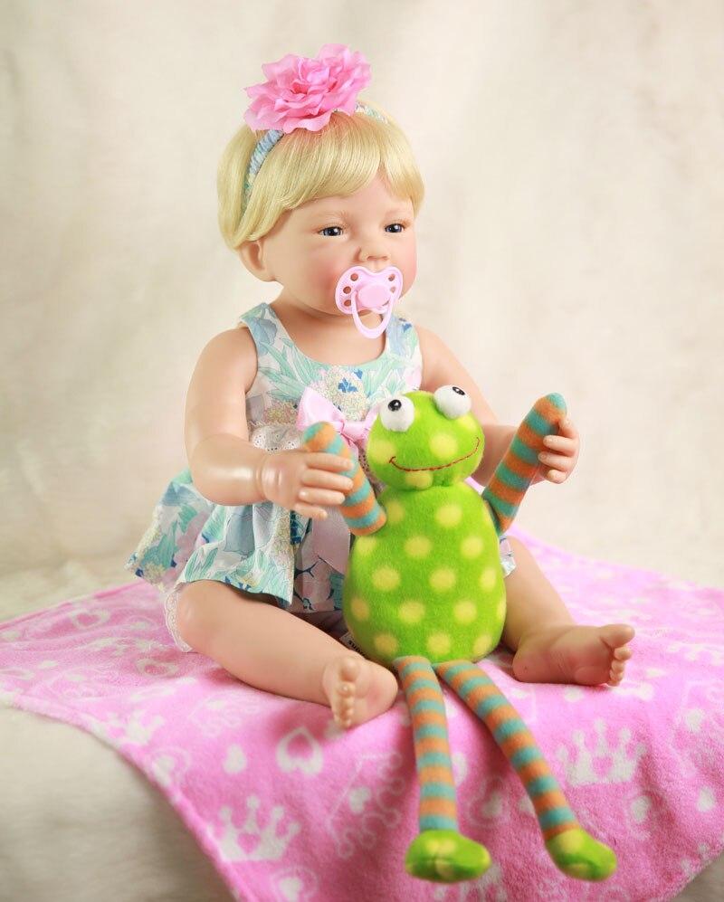 """Lovely 55cm Full Body Silicone Reborn Baby Girl 22"""" Lifelike Newborn Baby Dolls Birthday Gift Child Bathe Toy Play House Toy"""