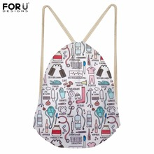FORUDESIGNS HOT SALE Nurse Brand Designer Drawstring Backpack Women Small Girls School Bag Kids Pocket Pouch Lady Shopper Bags