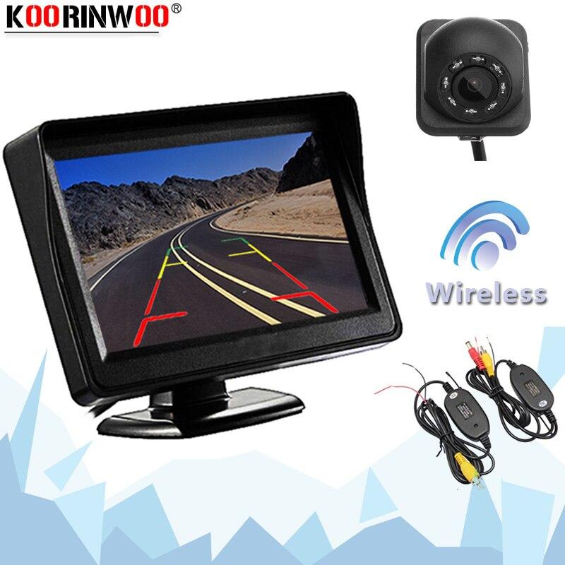 Koorinwoo беспроводной 4,3-дюймовый ЖК-дисплей TFT монитор экран дисплей с камерой заднего вида система парковки Видео Подсветка полный
