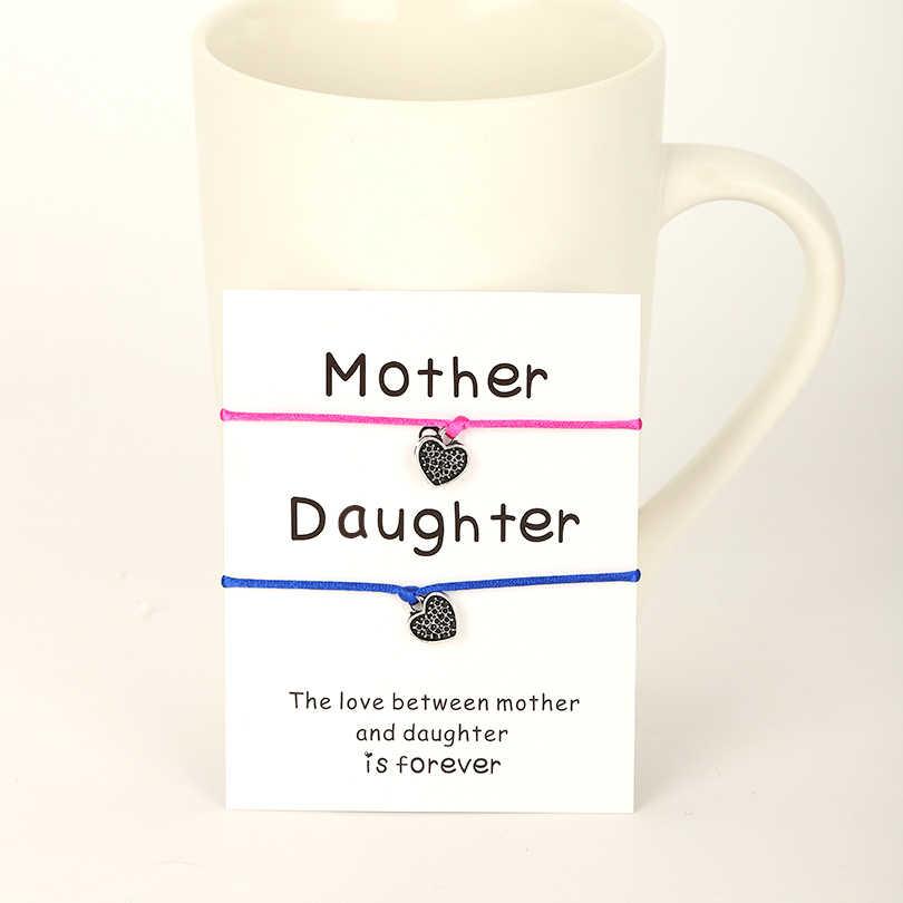 VEKNO アンティークシルバーハートママと娘のブレスレットアニバーサリーウェディング糸調節可能ロープペアカップルブレスレットセット