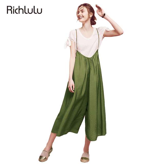 8909b9fc41 RichLuLu Green Suspender Jumpsuit Women Vintage Casual Basic Playsuit  Female Loose Summer Tie Fashion Ladies Jumpsuit