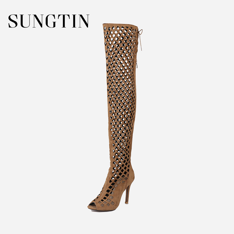 Sungtin Sexy Hollow Out Gladiator Boots Women Over The Knee Boots Summer Peep Toe High Heels Lady Stretch Slim Thigh High Boots hot boots women sexy black thigh high boots peep toe soft leather back zip high heels over the knee boots gladiator sandal boots