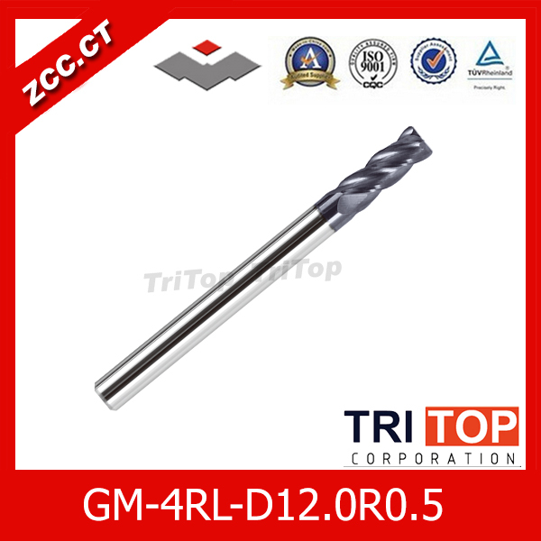 ZCC.CT  GM-4RL-D12.0R0.5  high quality 4-flute Carbide Corner Radius End Mills with long straight shank