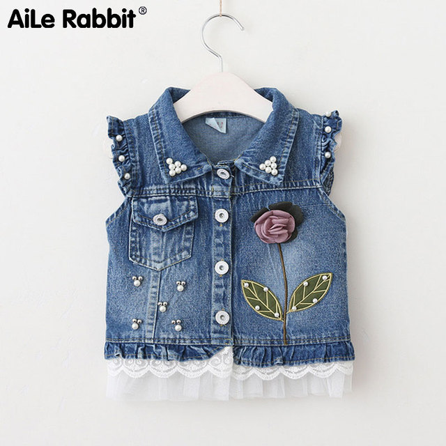 e29733677 AiLe Rabbit 2019 girls fashion coat vest denim jacket sleeveless ...