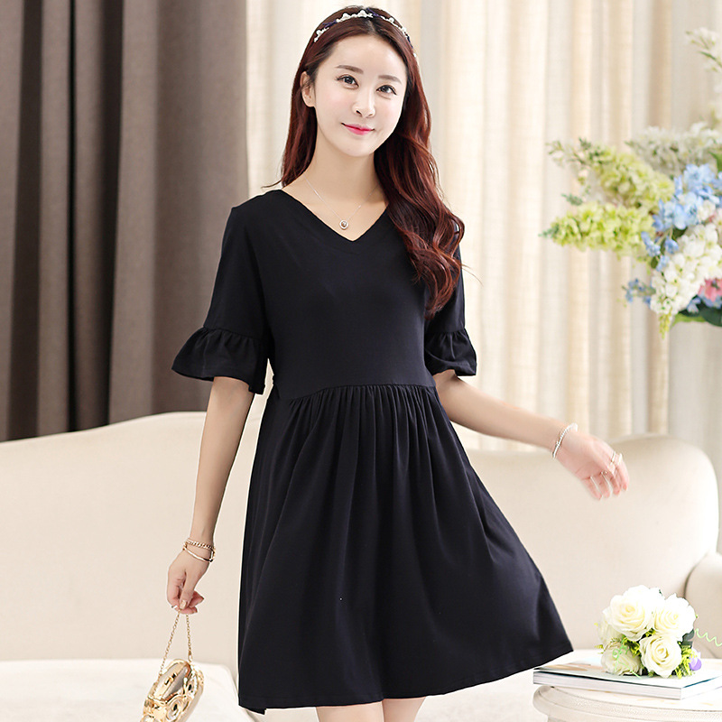 2016 Cotton Polyester Lycra Limited Zy Edition Pure Color Summer Big Yards Horn Sleeve Dress Show Thin Wholesale Pregnant Women