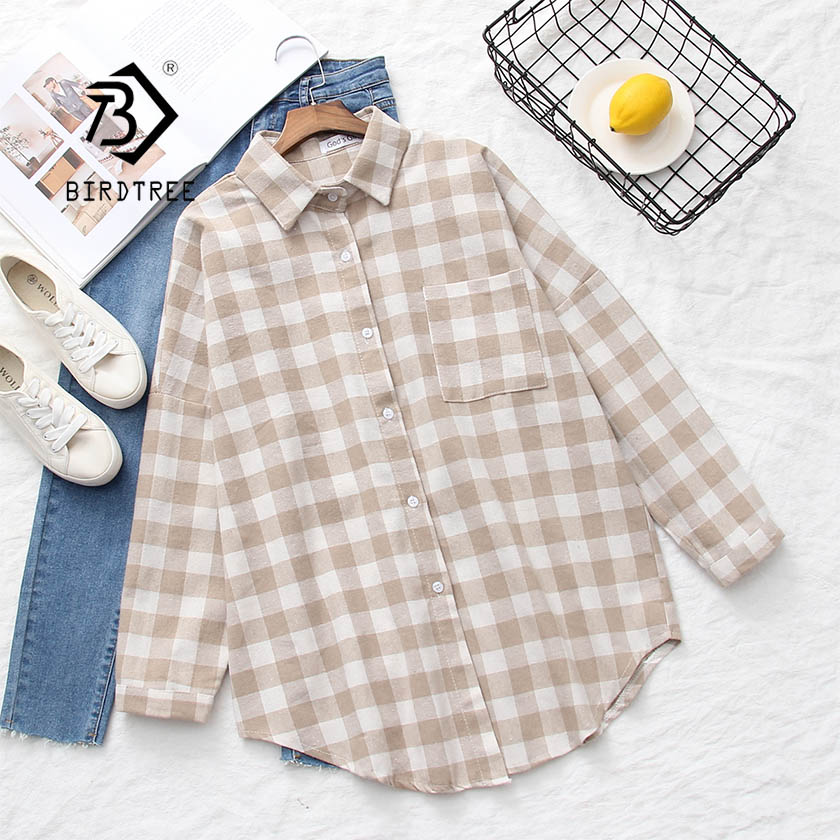 2019 NEW Plaid Loose Shirt Office Lady Wear Button Up Turn Down Collar Long Sleeve Pocket  Blouse Feminina T8D511M