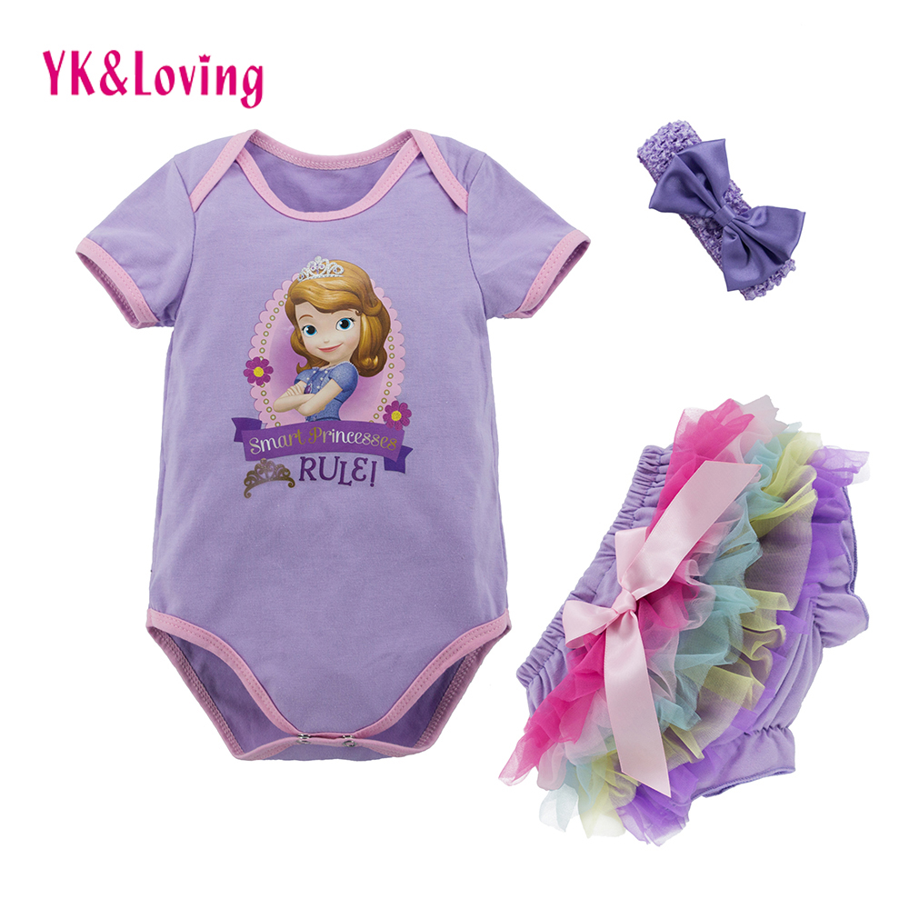 Retail Baby Clothing Set Cotton Princess Baby Rompers+Bloomer+Headband 3Pcs Suits Newborn Bebes Baby Clothes Toddler Infant Set