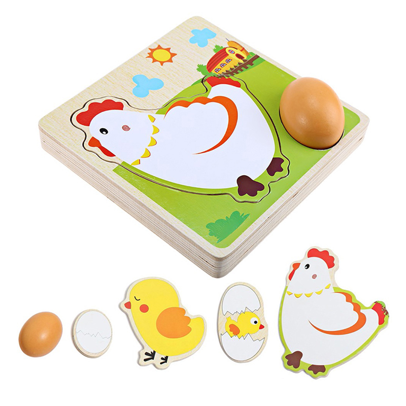 Hot Sale 3D Puzzle Mulit Layer Chicken Hen Lay Eggs Growing Up Cartoon Children Kids Wooden Puzzles Panel Process Early Emulatio growing up
