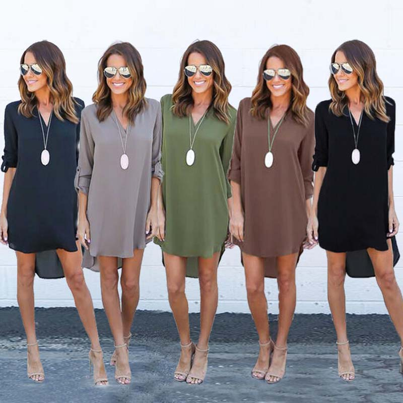 Womens Casual Long Sleeve V-Neck Blouse Oversize Loose Chiffon T Shirt Dress