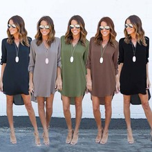 Womens Casual Long Sleeve V-Neck Blouse Oversize Loose Chiffon T Shirt Dress brown v neck long sleeves loose plunge t shirt dress